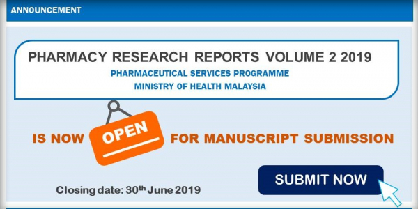 Announcement - Pharmacy Research Reports Volume 2 2019 (submission )